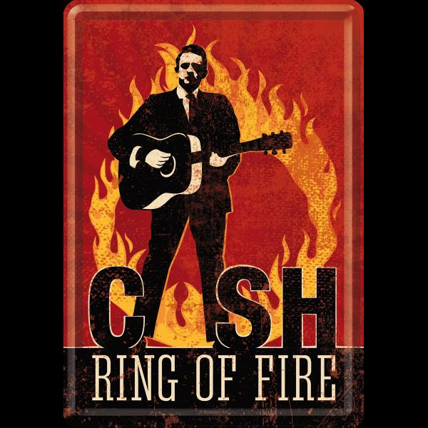 johnny cash ring of fire blechpostkarte gru karte 10x14cm kaufen. Black Bedroom Furniture Sets. Home Design Ideas