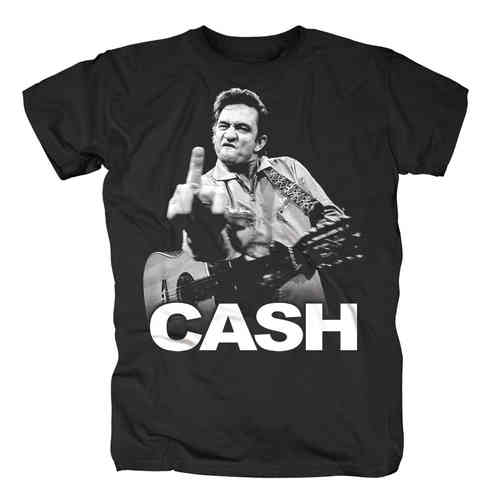 Original Johnny Cash Herren T-Shirt FINGER schwarz