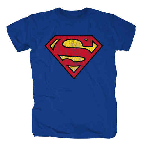 DC Comics SUPERMAN Herren T-Shirt LOGO DISTRESSED