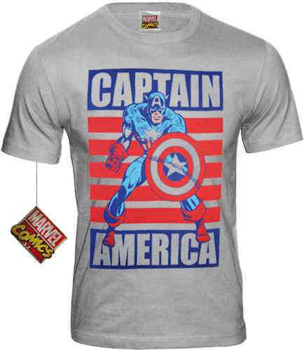 Marvel Comics Retro Herren T-Shirt CAPTAIN AMERICA FLAG