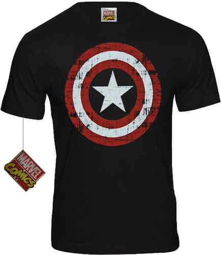 Marvel Comics Herren T-Shirt Captain America Shield Codi