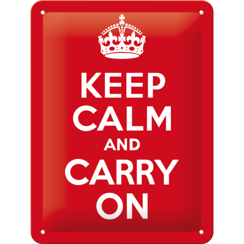 Retro KEEP CALM & CARRY ON Blechschild 15x20 cm