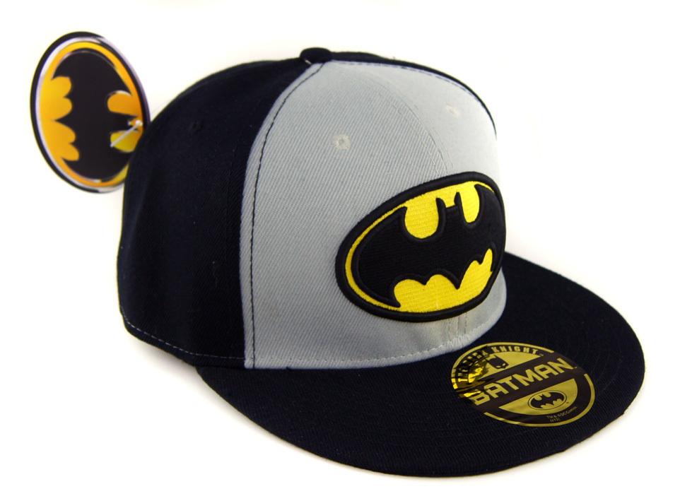 Dc Comics Batman Logo Flat Snapback Cap Schwarz Grau