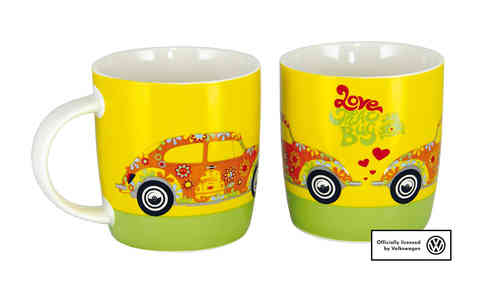VW Kaffeetasse Käfer LOVE THAT BUG Flower Power Gelb