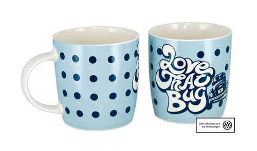VW Collection Kaffeetasse Käfer LOVE THAT BUG Blau Dots