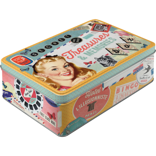 Retro TREASURES & MEMORIES Blechdose Vorratsdose Flach