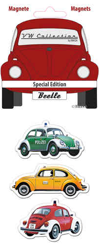 Retro VW Beetle Käfer Magnet Set 3 tlg. rot
