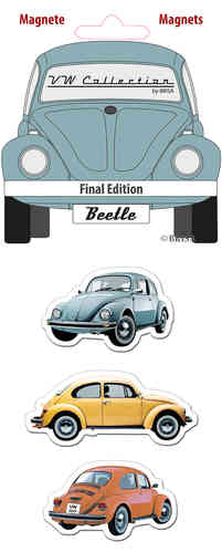 Retro VW Beetle Käfer Magnet Set 3 tlg. grau