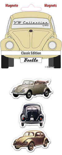 Retro VW Beetle Käfer Magnet Set 3 tlg. gelb