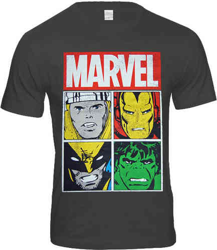 original Marvel Comics 4 CHARACTERS Retro Herren T-Shirt