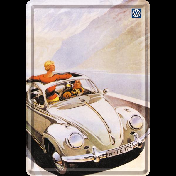 vw beetle k fer cabrio blechpostkarte 10x14cm kaufen. Black Bedroom Furniture Sets. Home Design Ideas