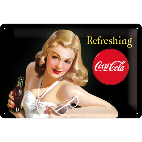 original COCA COLA REFRESHING LADY Blechschild 20x30cm