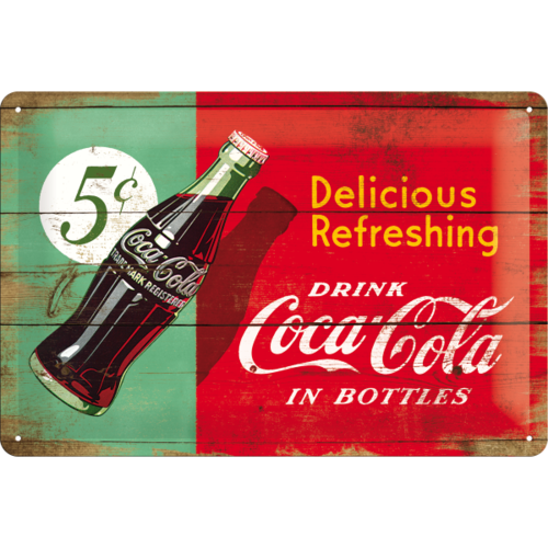 COCA COLA DELICIOUS REFRESHING GREEN Blechschild 20x30