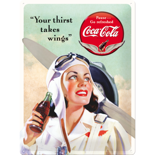 COCA COLA TAKES WINGS LADY Blechschild 30x40cm
