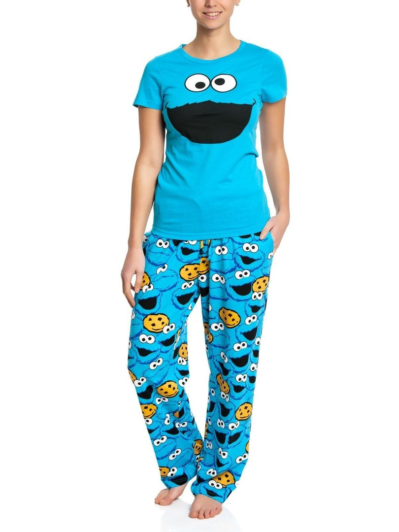 sesamstrasse cookie monster pyjama schlafanzug kaufen. Black Bedroom Furniture Sets. Home Design Ideas