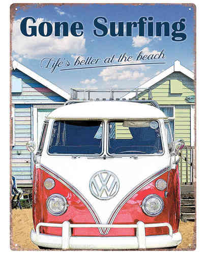 VW Bulli Gone Surfing Metallschild Blechschild 30x 40cm