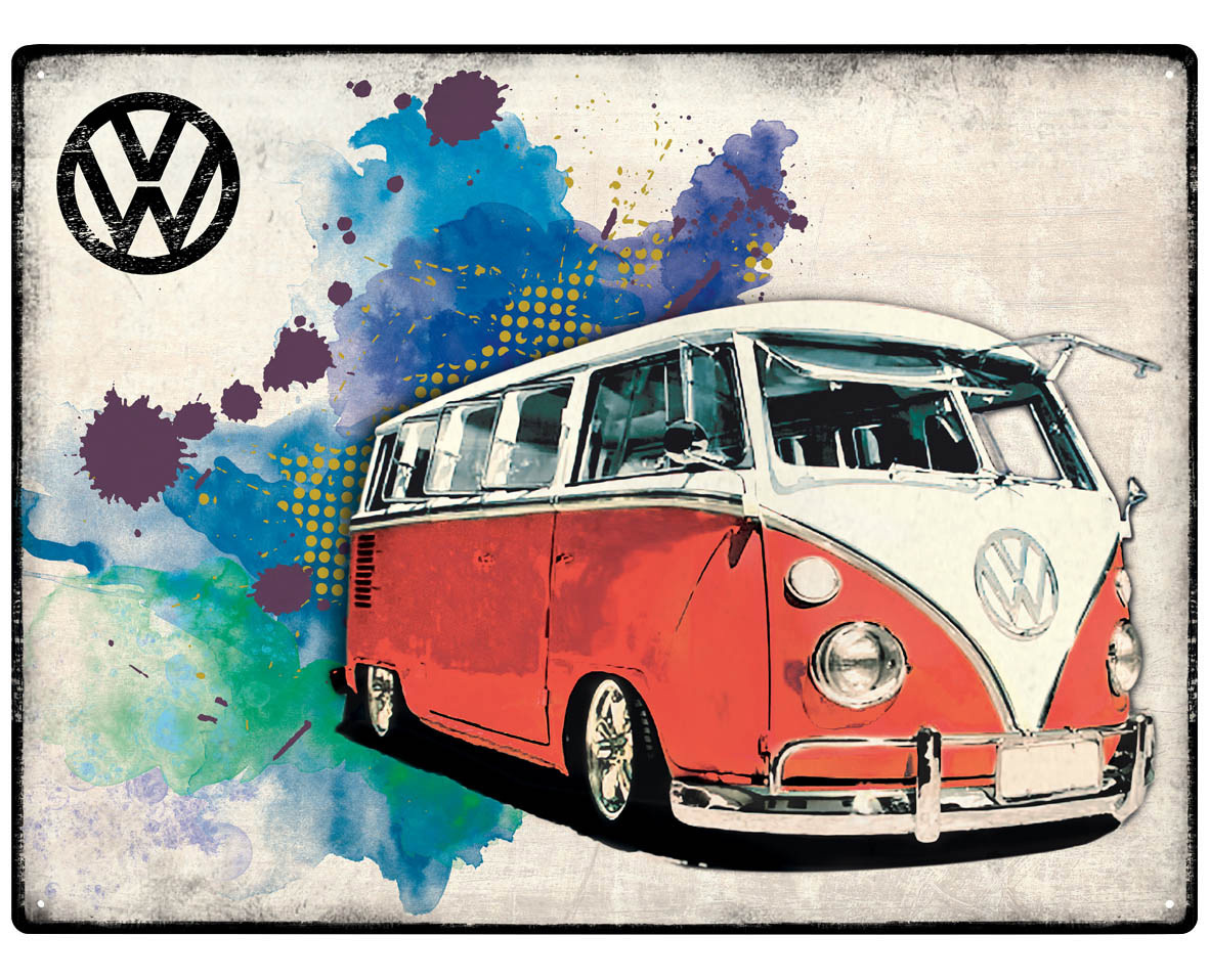 vw bus bulli camper grunge red blechschild 30x40cm kaufen. Black Bedroom Furniture Sets. Home Design Ideas