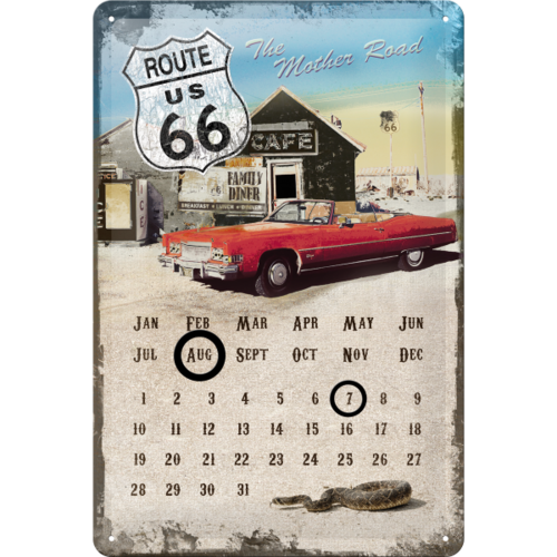 Retro ROUTE 66 KALENDER Blechschild MOTHER ROAD 20x30cm