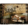 Retro ROUTE 66 ROAD TRIP Blechschild 30x40cm