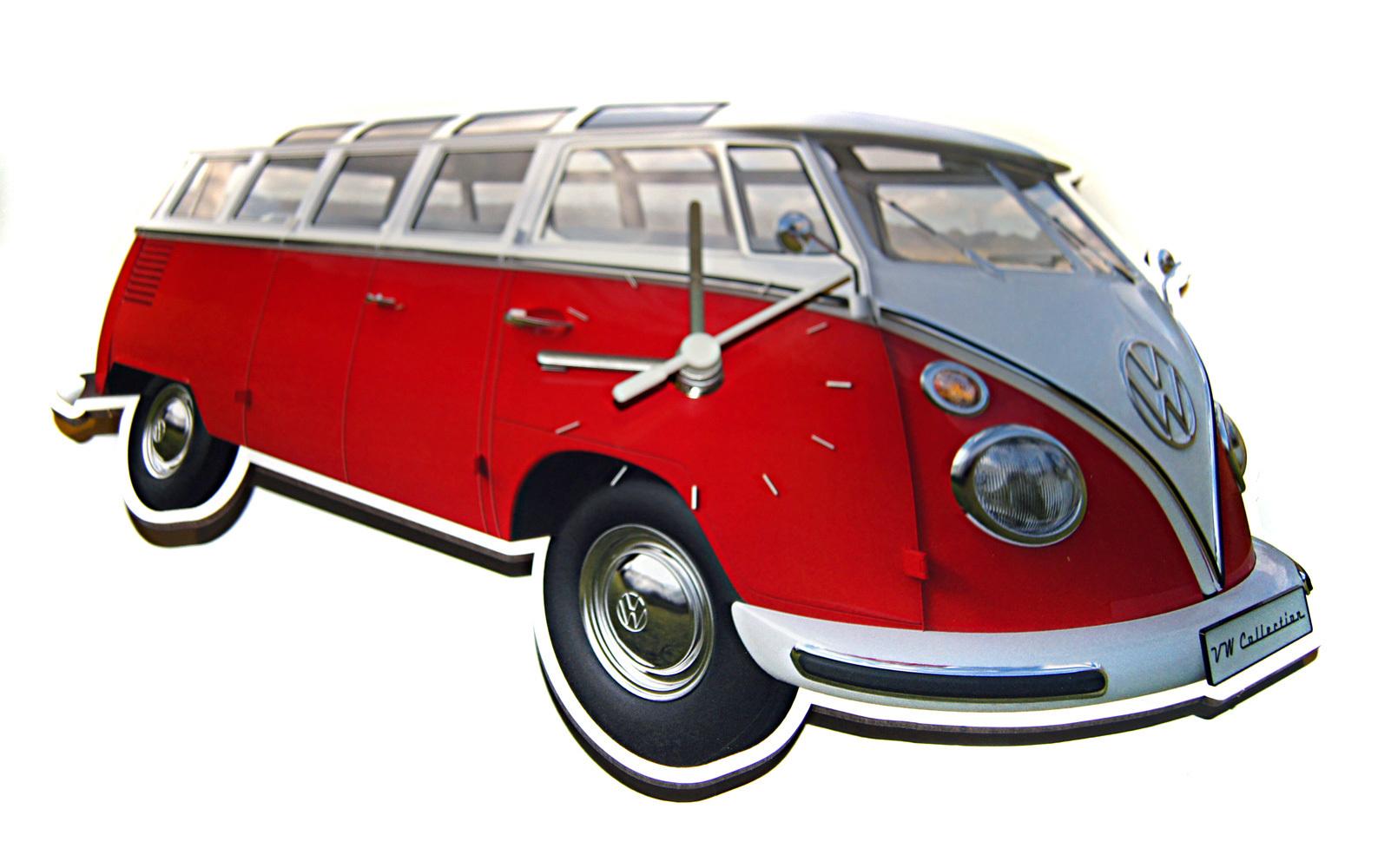 original vw bulli wanduhr t1 samba bus rot kaufen. Black Bedroom Furniture Sets. Home Design Ideas