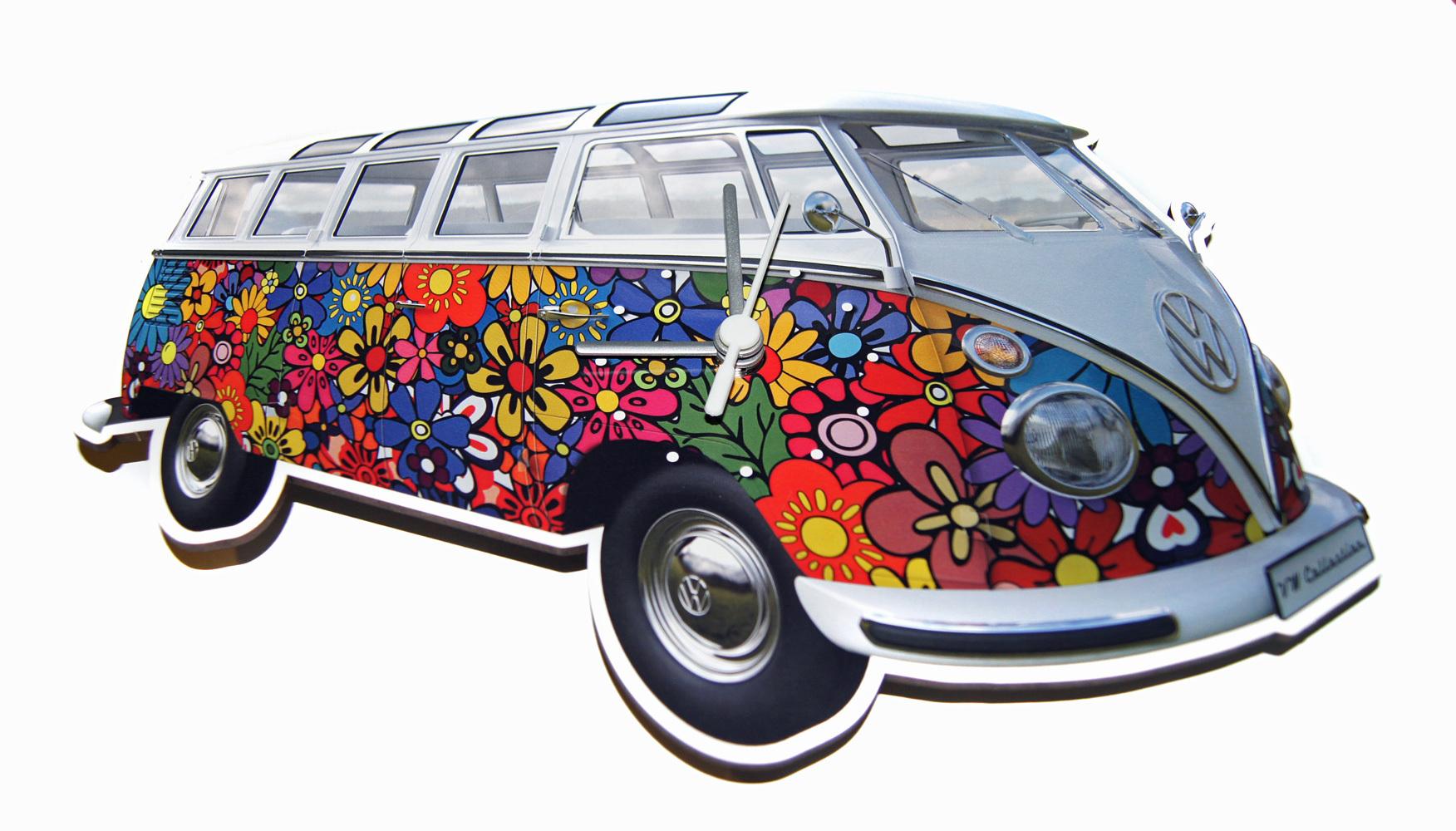 original vw bulli wanduhr t1 samba bus flowers kaufen. Black Bedroom Furniture Sets. Home Design Ideas