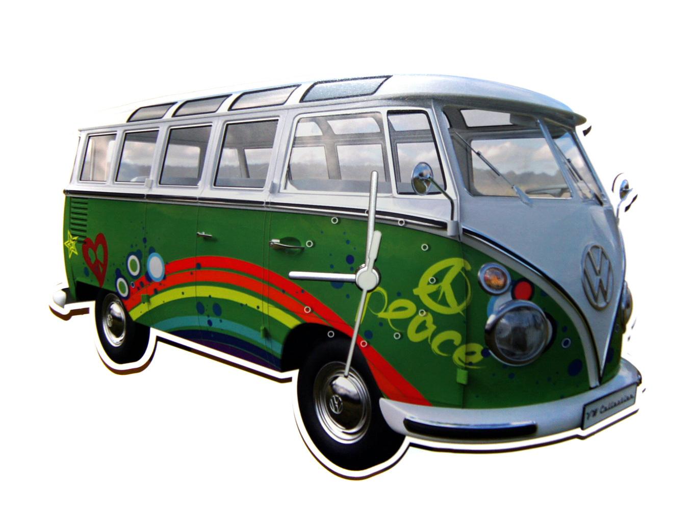 vw bulli wanduhr t1 samba bus peace gr n kaufen. Black Bedroom Furniture Sets. Home Design Ideas