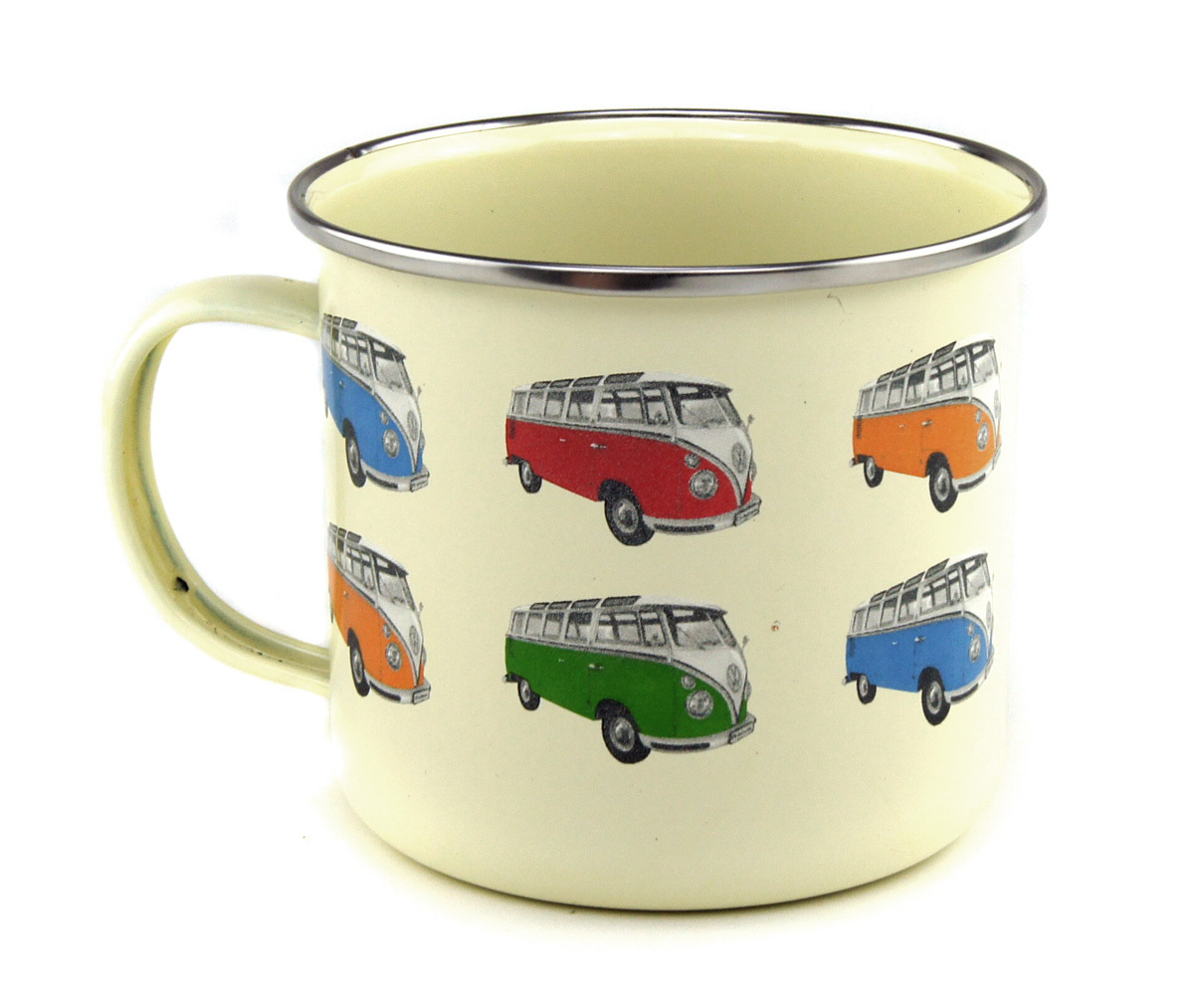 retro vw bus emaillie tasse kaffeetasse bulli parade kaufen. Black Bedroom Furniture Sets. Home Design Ideas