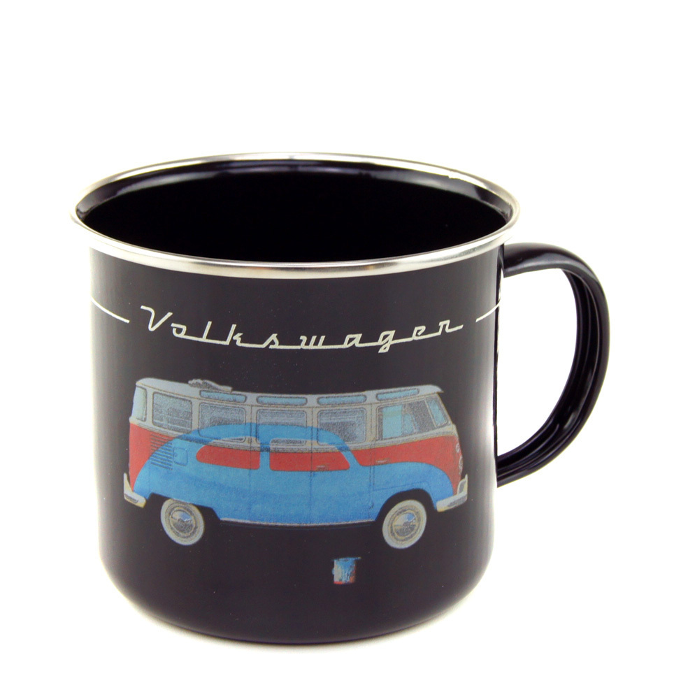vw bus emaillie tasse kaffeetasse bulli beetle schwarz kaufen. Black Bedroom Furniture Sets. Home Design Ideas