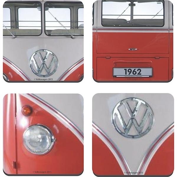 retro vw bus coaster untersetzer set 4tlg bulli 1962 rot. Black Bedroom Furniture Sets. Home Design Ideas