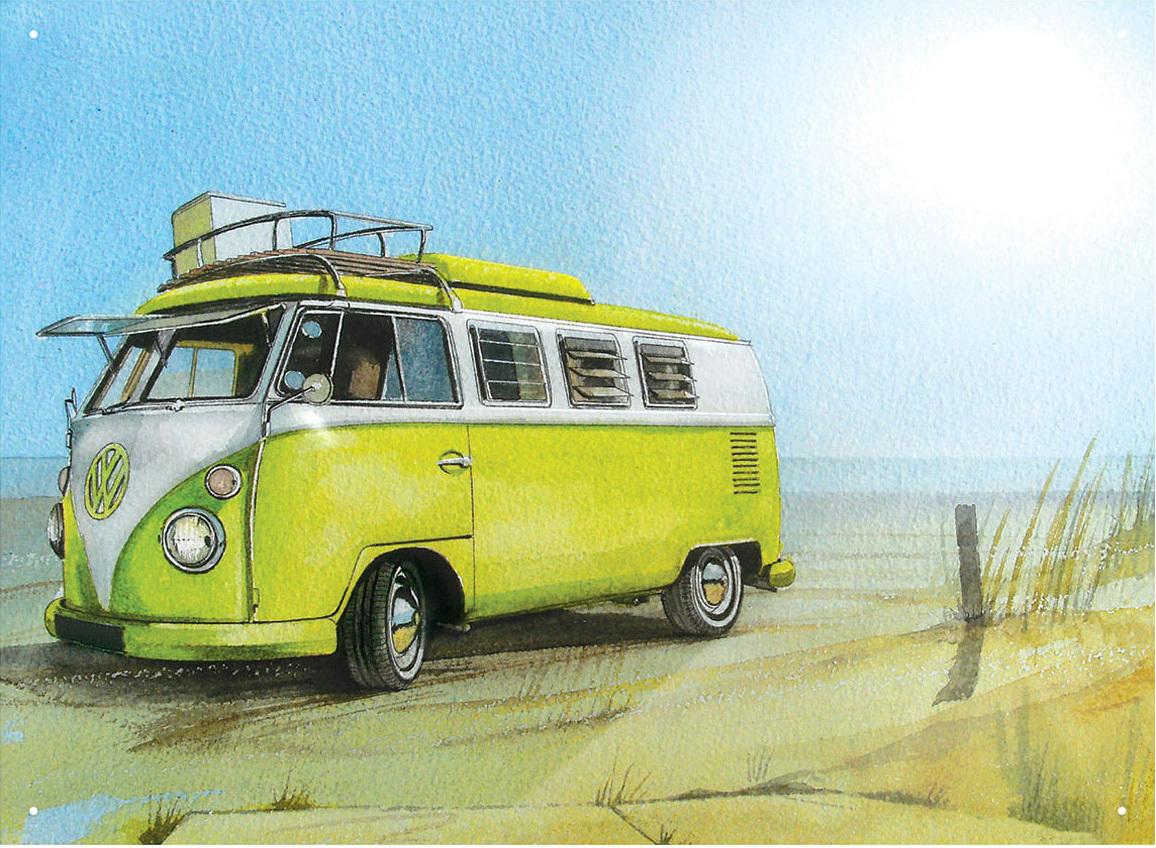 vw bulli blechschild watercolor camper beach 30x40cm bestellen. Black Bedroom Furniture Sets. Home Design Ideas