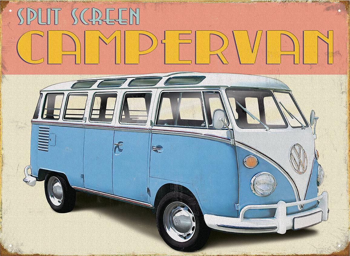 retro vw bus bulli blechschild campervan 30x40cm bestellen. Black Bedroom Furniture Sets. Home Design Ideas