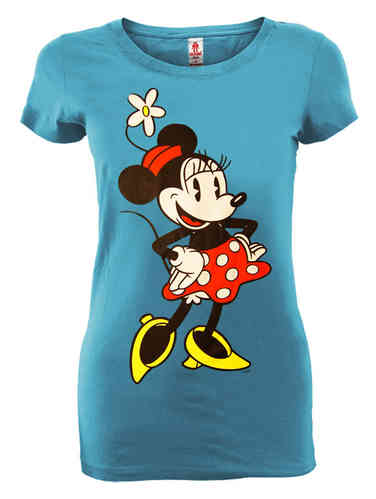 Vintage Minnie Mouse Frauen T-Shirt türkis