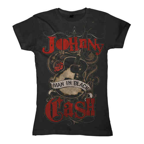 Johnny Cash Girl T-Shirt Man In Black Guitar