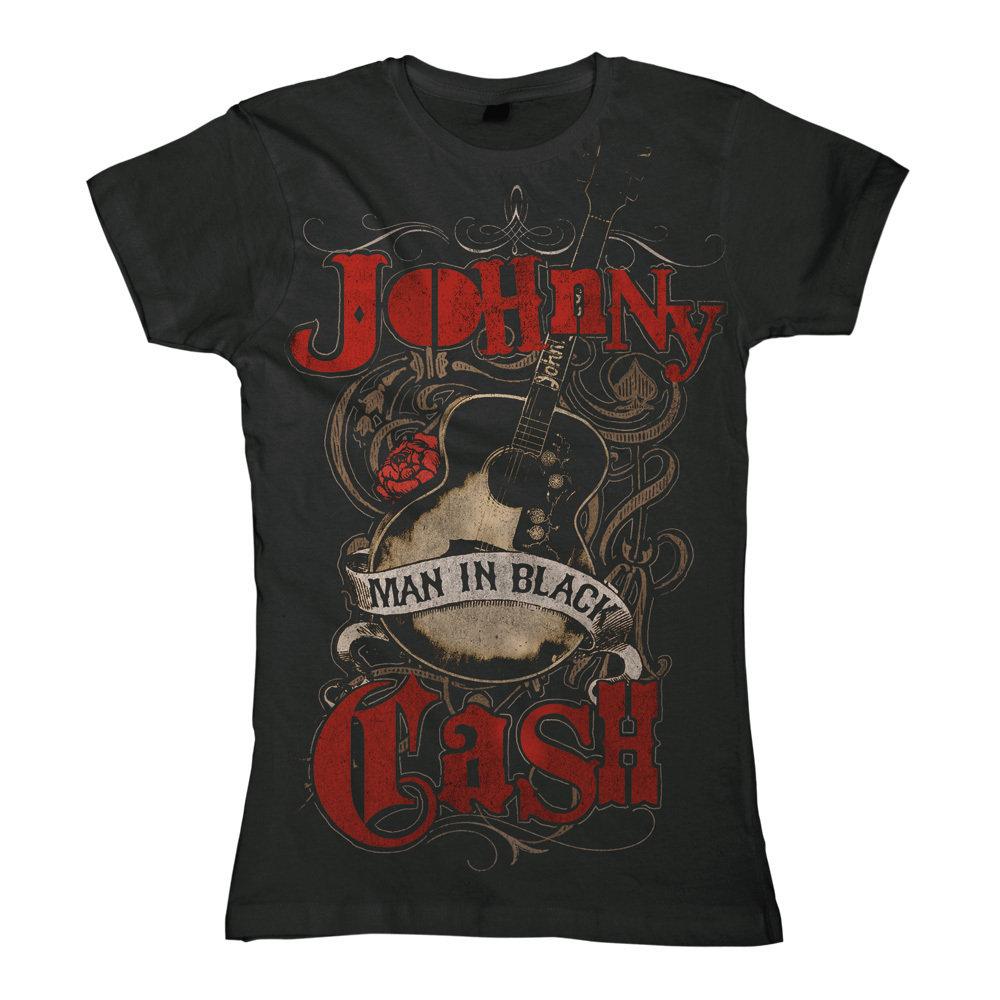 0b409af740 Johnny Cash Girl T-Shirt Man In Black Guitar bestellen