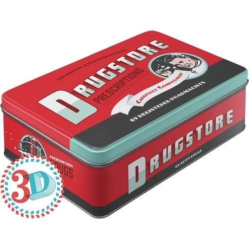 Retro Drugstore Pharmacy Blechdose Flach