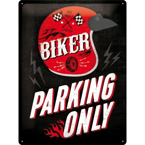 Retro Biker Parking Only Blechschild 30x40 cm
