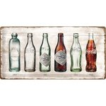 Retro Coca Cola Bottled Timeline Blechschild 25x50 cm