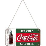Retro COCA COLA Ice Cold Sold Here Hängeschild Blechschild
