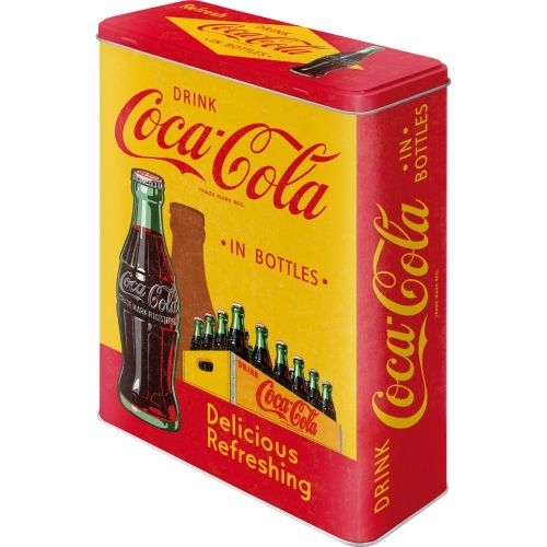 Coca Cola In Bottles Yellow Blechdose XL