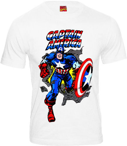 Marvel Comics Captain America Herren T-Shirt weiß