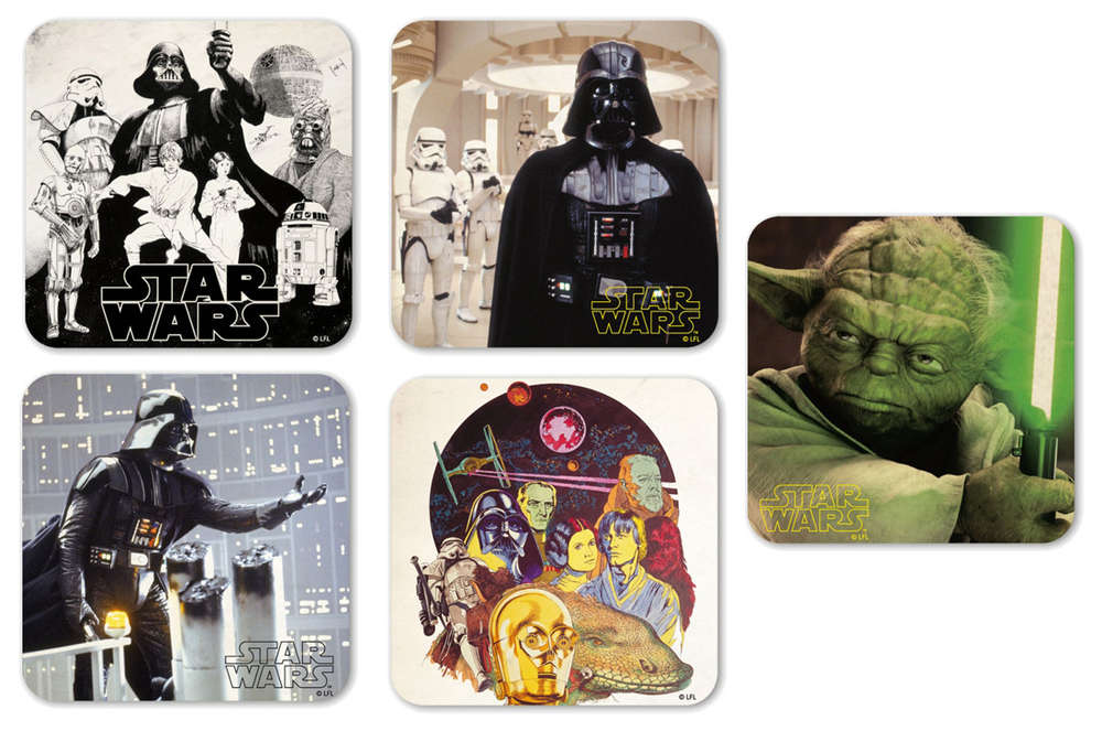 Star Wars Coaster Untersetzer Set 5tlg Darth Vader Yoda Bestellen