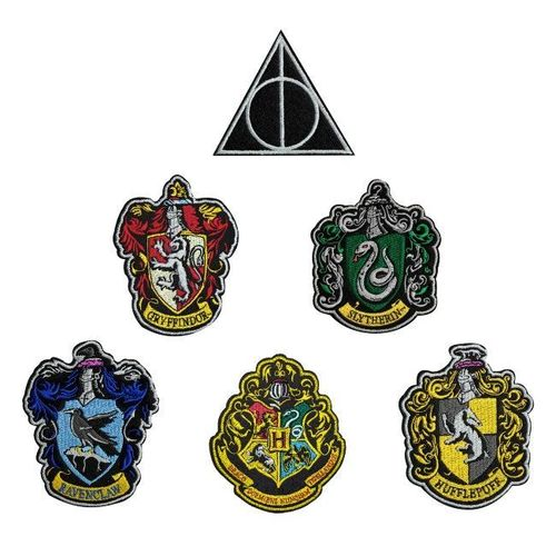 Harry Potter 6er Set Aufnäher Patches Hauswappen