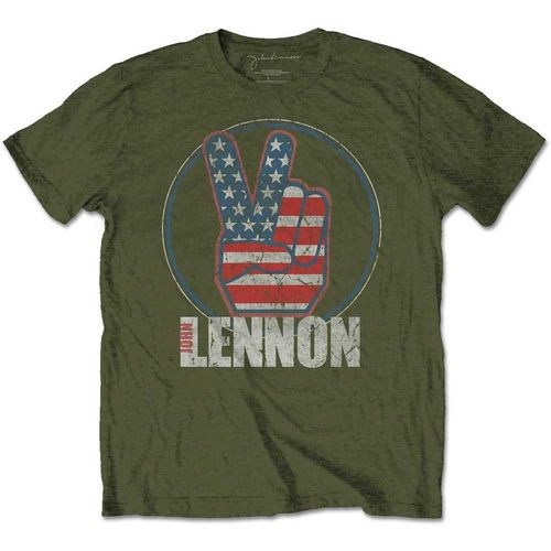 John Lennon Herren T-Shirt Peace Fingers US Flag