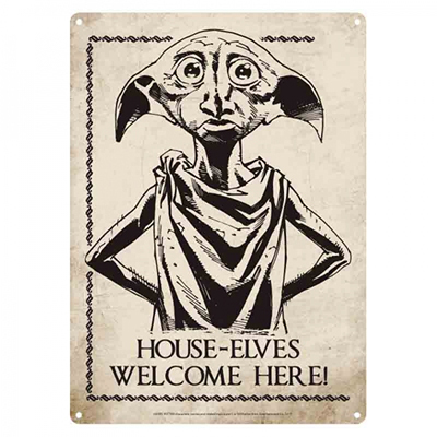 Harry Potter Blechschild A5 Dobby House Elves Welcome Here