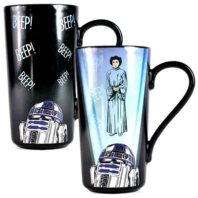 Star Wars Latte Becher Tasse R2D2 & Leia Thermoeffekt