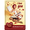 PinUp I Love You Chocolate Blechpostkarte Liebesgruß 10x14