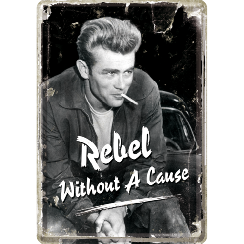 Retro James Dean Rebel Blechpostkarte Grußkarte 10x14cm