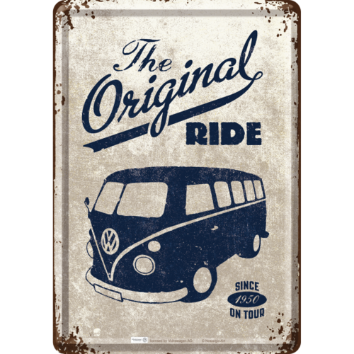 VW Bus T1 T2 Bulli The Original Ride Blechpostkarte 10x14