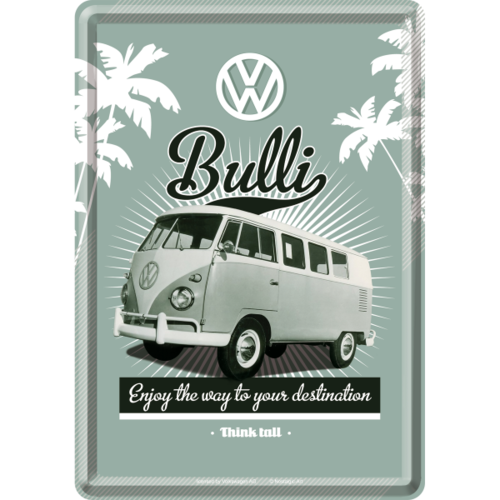 VW BULLI THINK TALL Retro Blechpostkarte 10x14cm