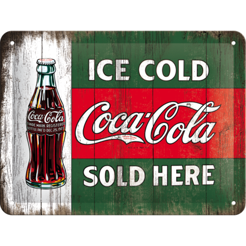 COCA COLA ICE COLD SOLD HERE Blechschild 15x20